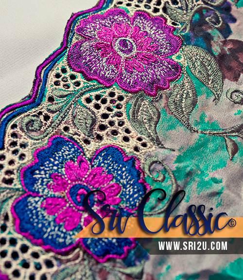 Tempahan Sulam Kerawang Baju Kurung Tradisional Corak Bunga Kemboja Cina
