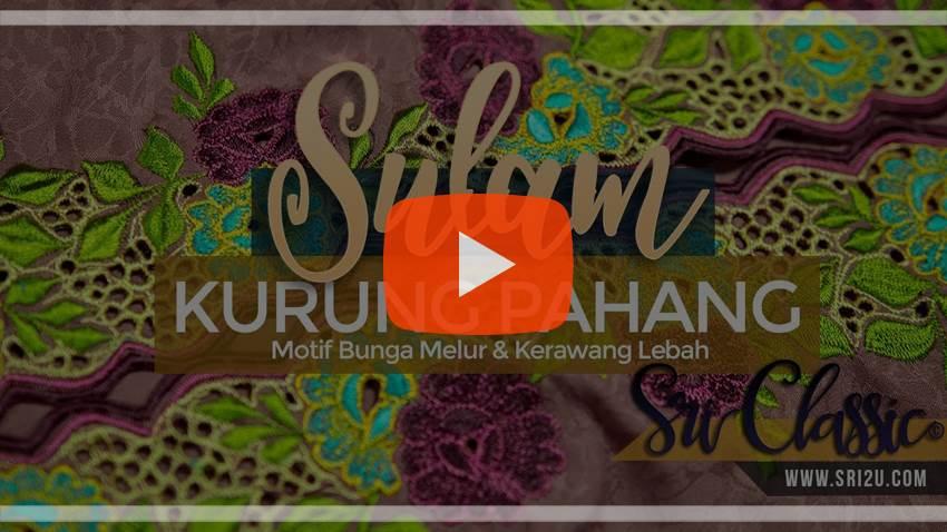Baju Kurung Pahang Sulam Corak Bunga Melur