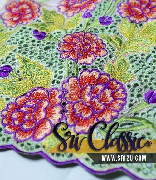 Corak Sulam Baju Kurung Pahang Bunga Mawar Desa
