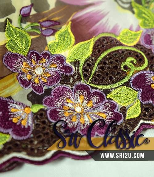 Sulam Baju Kurung Kedah Corak Bunga Penaga Lilin