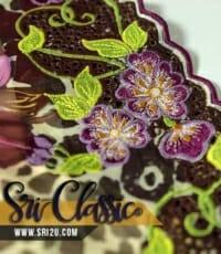 Tempahan Sulam Baju Kurung Kedah Corak Bunga Penaga Lilin