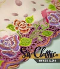 Tempahan Sulam Baju Kurung Moden Corak Sulam Kerawang Motif Bunga Ros