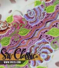 Tempahan Baju Kurung Moden Sulam Corak Bunga Ros
