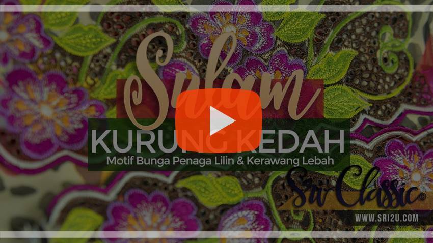 Baju Kurung Kedah Sulam Corak Bunga Penaga Lilin