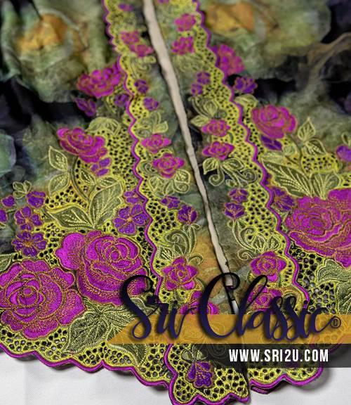 Baju Kebaya Tradisional Sulam Corak Sulam Bunga Ros - Koleksi Baju Kebaya Tradisional