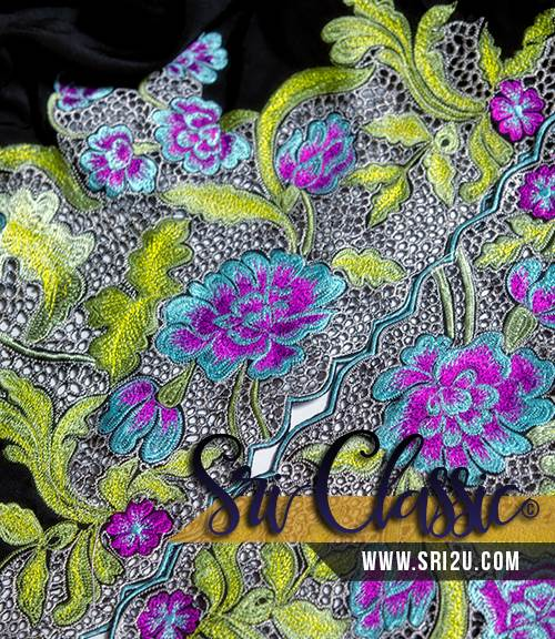 Baju Kurung Moden Sulam Corak Bunga Jasmine