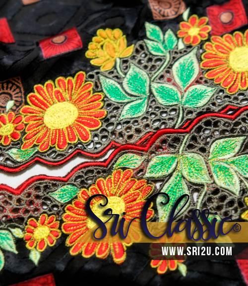Baju Kebaya Tradisional Corak Sulam Bunga Matahari
