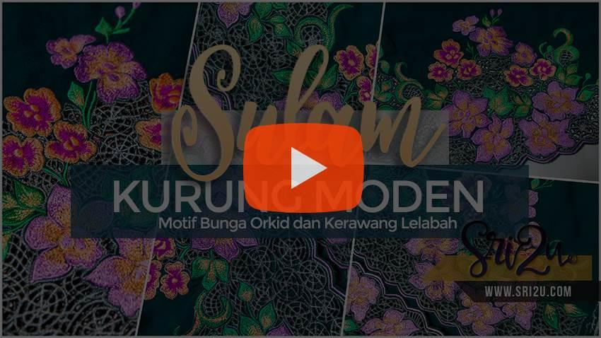 Kurung Moden Sulam Corak Bunga Orkid Kerawang Lelabah