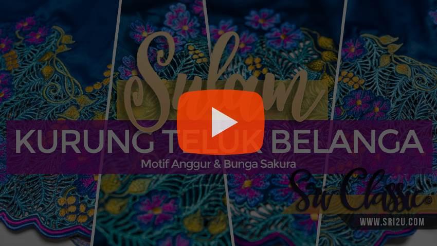 Baju Kurung Teluk Belanga Tradisional Sulam Bunga Sakura & Anggur