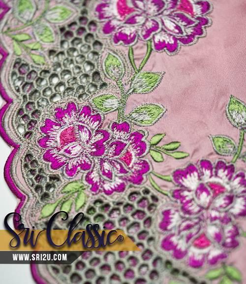 Sulaman Kerawang Baju Kurung Moden Pendek Motif Melur Cina Dengan Kerawang Sarang Tebuan