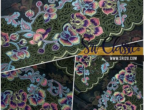 Tempahan Baju Kurung Sulam Kerawang Motif Bunga Orkid Kerawang Daun
