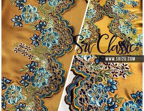 Sulam Goyang Baju Kurung Moden Corak Bunga Jasmine