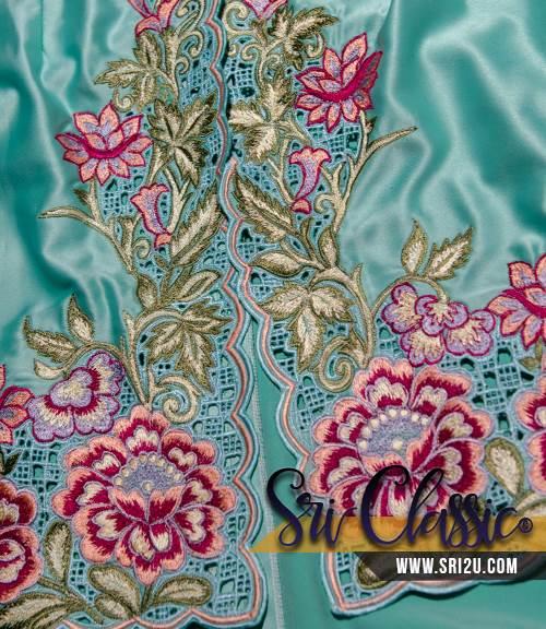 Baju Kebaya Fish Tail Bersulam Kerawang Motif Bunga Peony dan Bakawali
