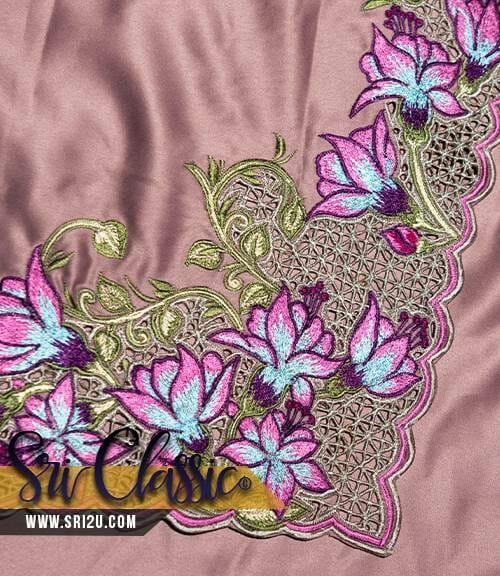 Sulaman Kerawang Bunga Senduduk Hutan dengan Kerawang Pagar Baju Dress Berseluar