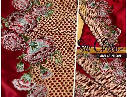 Sulam Baju Kurung Pahang Motif Bunga Carnation Kerawang Sarang Tebuan