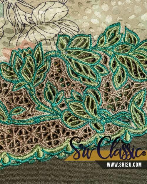 Rekaan Sulam Kerawang Kurung Tradisi Motif Bunga Magnolia Dengan 2 Corak Kerawang
